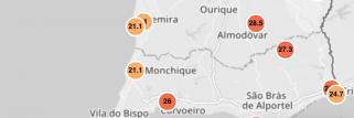 Portugal: Temperaturas atuais no Algarve