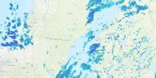 Radar de precipitação para a Escandinávia