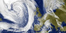 Cyclone in the North Atlantic produces high waves