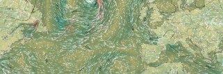 Nuova mappa di animazione del vento con fronti meteorologici